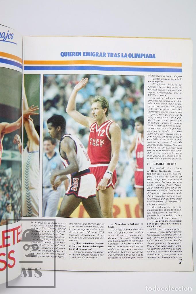 Coleccionismo deportivo: Revista de Baloncesto con Póster - Gigantes del Basket. Olimpiada Seul - Nº 151, 1988 - Hobby Press - Foto 4 - 91250180