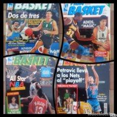 Coleccionismo deportivo: FIBA BASKET: 1, 3, 5, 6. REVISTAS DE BALONCESTO 1991-1992, MAGIC JOHNSON, USA, POSTER ESTUDIANTES.... Lote 93037605