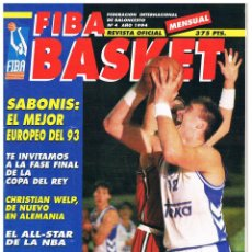 Coleccionismo deportivo: REVISTA BALONCESTO FIBA BASKET Nº 4, 2ª ETAPA, ARVIDAS SABONIS. Lote 95032623