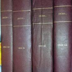 Coleccionismo deportivo: DICEN... REVISTA DEPORTIVA 4 TOMOS DEL Nº 1, 13/09/1952 AL 199, 04/08/1956 - 4 AÑOS. Lote 96789991