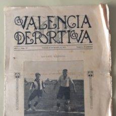 Coleccionismo deportivo: VALENCIA DEPORTIVA.PERIODICO DEPORTIVO. Nº19 AÑO 1922.. Lote 97451027