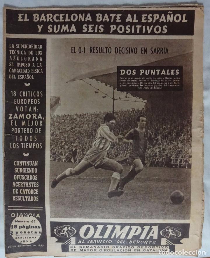 REVISTA OLIMPIA. Nº 63 DICIEMBRE 1953. ESPANYOL 0 BARCELONA 1 (Coleccionismo Deportivo - Revistas y Periódicos - otros Deportes)