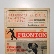 Coleccionismo deportivo: FRONTON. REVISTA INFORMATIVA DE PELOTA. 31 DE ENERO DE 1976. MANOMANISTA. GALARRETA. FRONTONES TDKP2. Lote 101918403