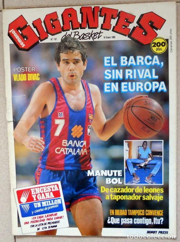 GIGANTES DEL BASKET Nº167 ENERO 1989 BALONCESTO POSTER VLADO DIVAC YUGOSLAVIA NBA VINTAGE MANUTE BOL (Coleccionismo Deportivo - Revistas y Periódicos - otros Deportes)