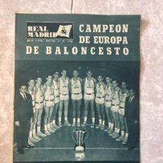 Coleccionismo deportivo: REVISTA REAL MADRID CAMPEÓN DE EUROPA BALONCESTO JUNIO DE 1964 Nº 169 . Lote 118148087