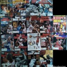 Coleccionismo deportivo: MICHAEL JORDAN - 18 REVISTAS AMERICANAS ''SPORTS ILLUSTRATED'' Y CINCO PERIÓDICOS (AÑOS 90) - NBA. Lote 125867235