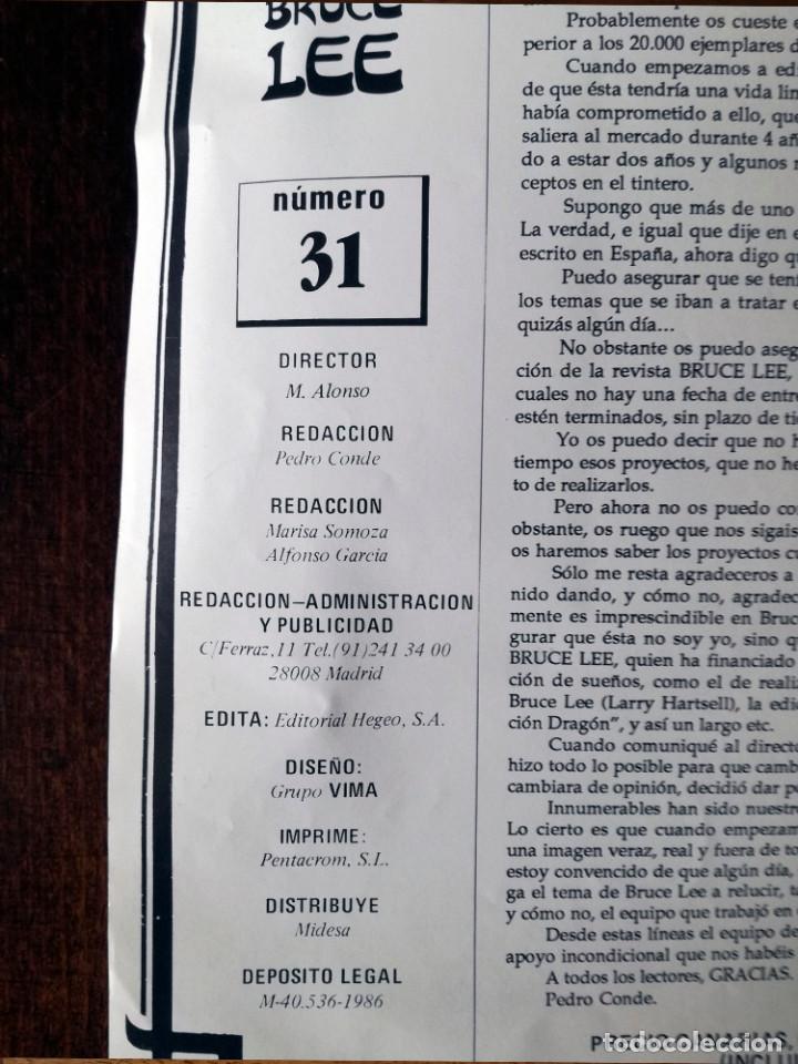 Coleccionismo deportivo: REVISTA BRUCE LEE Nº 31 AÑO IV NUEVO 1986 FOTOS POSTER Y PEGATINAS - Foto 2 - 127183615