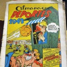 Coleccionismo deportivo: ALMANAQUE DEPORTES 1943 CALENDARIO PELICULA JUVENTUD DEPORTIVA , RETRATOS JUGADORES. INCOMPLETO. Lote 128833891