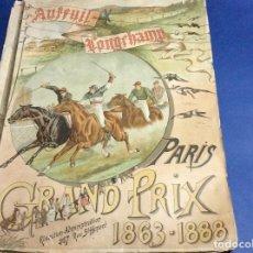Coleccionismo deportivo: CARRERA DE CABALLOS DE LONGCHAMP GRAND PRIX DE PARÍS 1888, CON LITOGRAFIA DE V J COLSON. MUY RARO. Lote 133527830