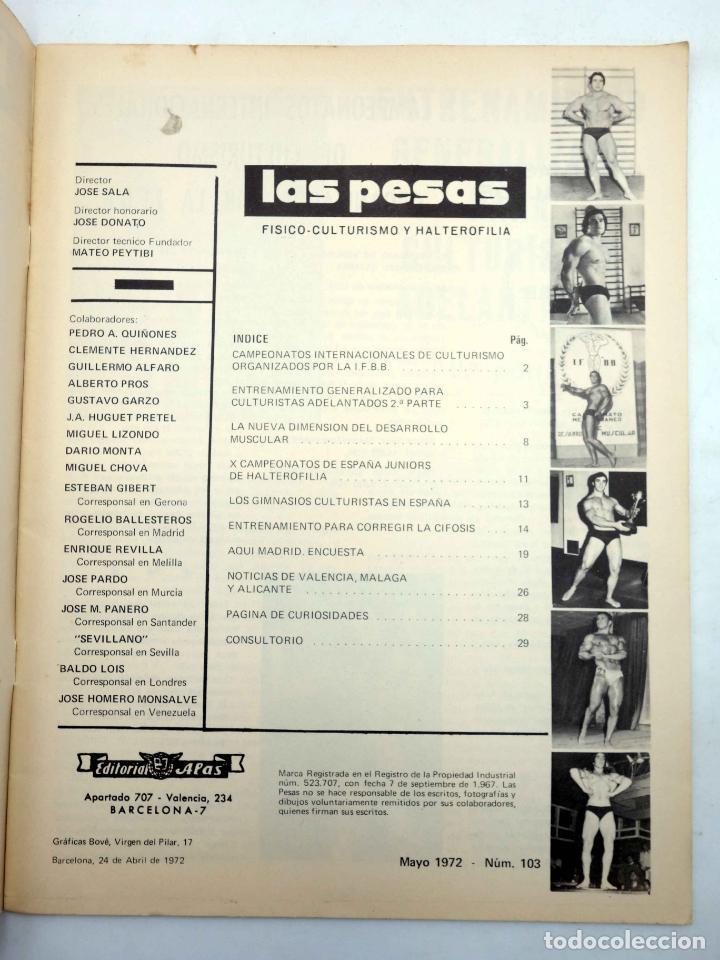 Coleccionismo deportivo: REVISTA LAS PESAS FISICO CULTURISMO Y HALTEROFILIA 103. GIUSEPPE DEIANA (VVAA) Alas, 1972. IFBB - Foto 3 - 141685108
