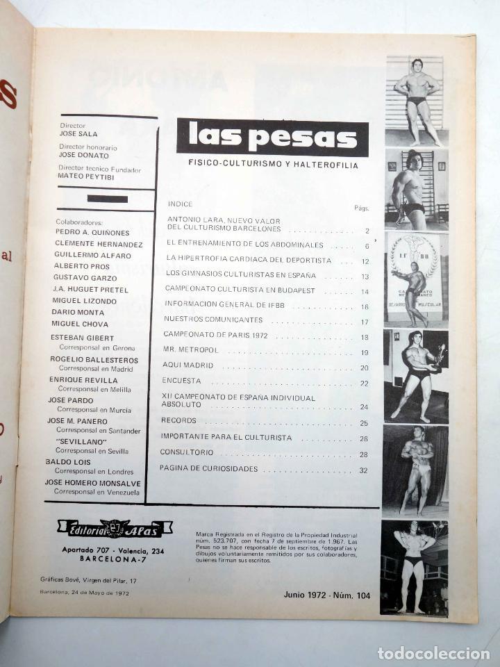 Coleccionismo deportivo: REVISTA LAS PESAS FISICO CULTURISMO Y HALTEROFILIA 104. ANTONIO LARA (VVAA) Alas, 1972. IFBB - Foto 3 - 180152085