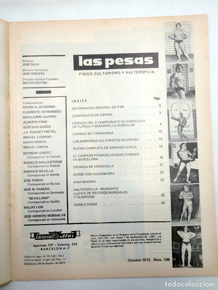 Coleccionismo deportivo: REVISTA LAS PESAS FISICO CULTURISMO Y HALTEROFILIA 108. CAMPEONATO DE ANDALUCIA. Alas, 1972. IFBB - Foto 3 - 141685124