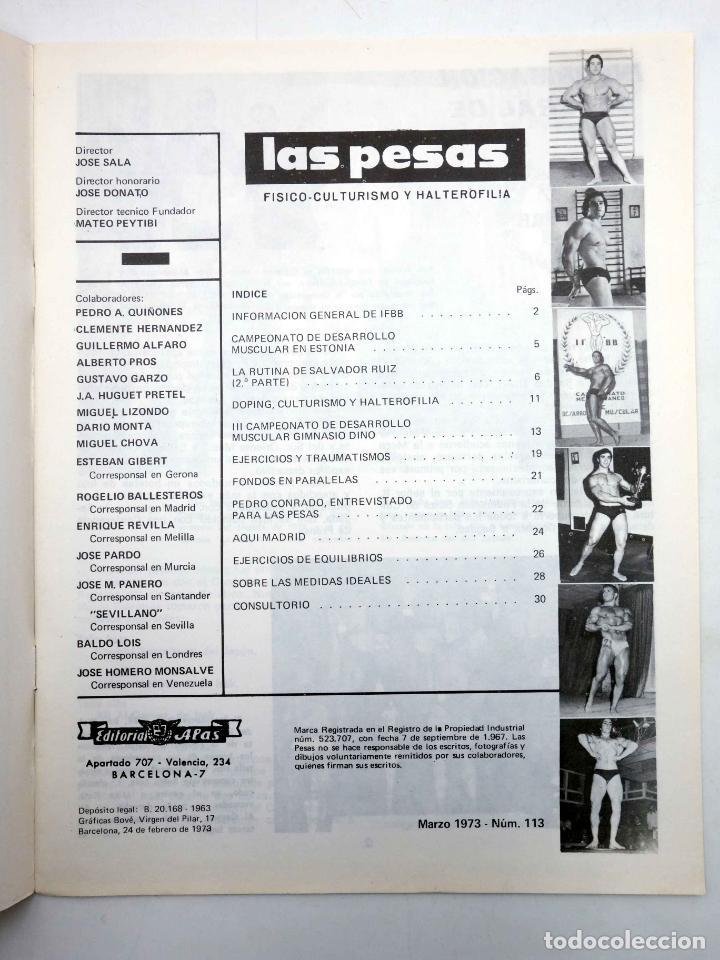 Coleccionismo deportivo: REVISTA LAS PESAS FISICO CULTURISMO Y HALTEROFILIA 113. KENICHI SUEMITSUE (VVAA) Alas, 1973. IFBB - Foto 3 - 141685144
