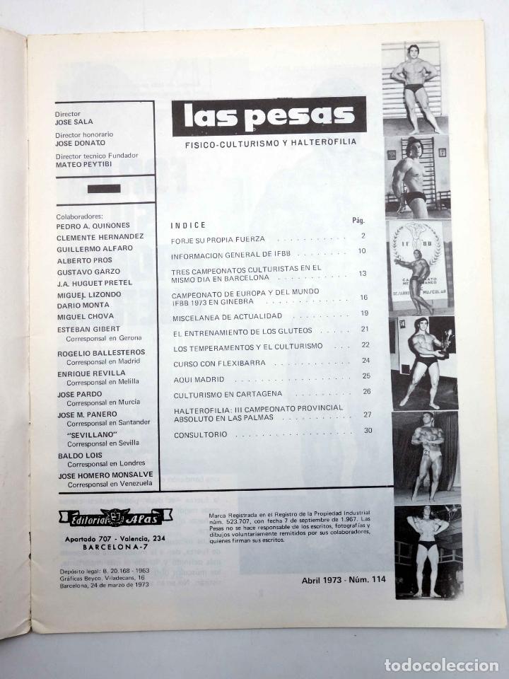 Coleccionismo deportivo: REVISTA LAS PESAS FISICO CULTURISMO Y HALTEROFILIA 114. SERGIO OLIVA (VVAA) Alas, 1973. IFBB - Foto 3 - 180152100