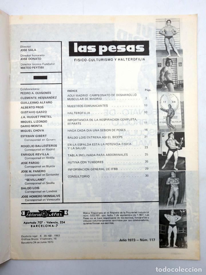 Coleccionismo deportivo: REVISTA LAS PESAS FISICO CULTURISMO Y HALTEROFILIA 117. SALVADOR RUIZ (VVAA) Alas, 1973. IFBB - Foto 3 - 141685160