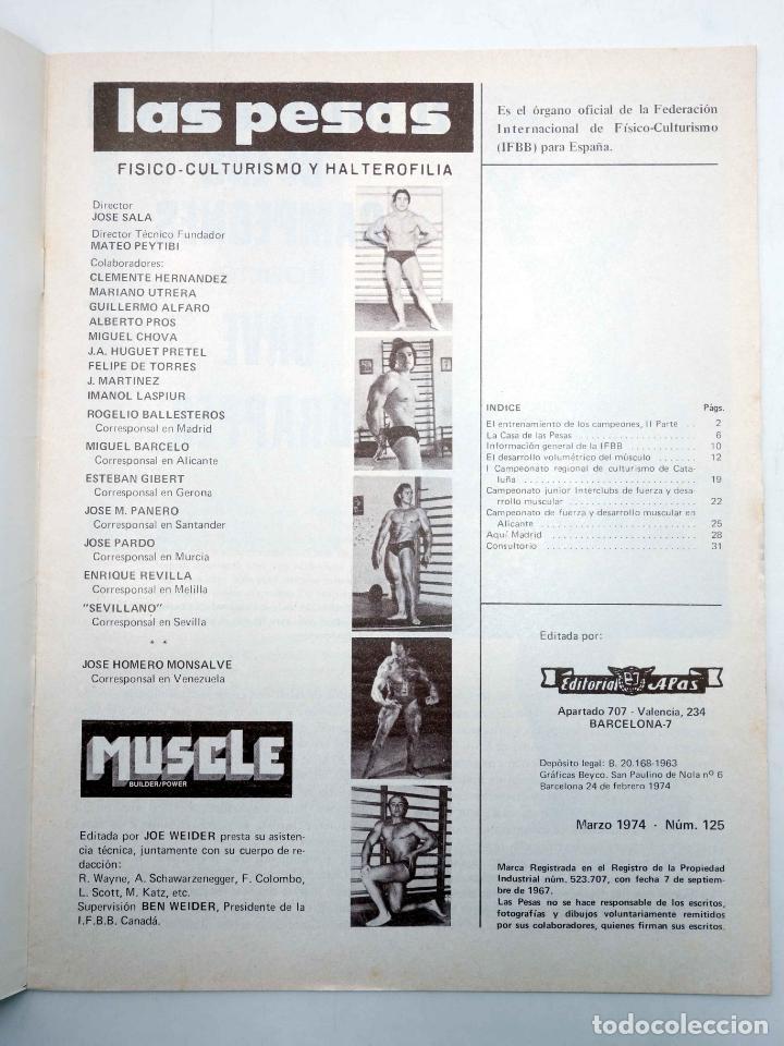 Coleccionismo deportivo: REVISTA LAS PESAS FISICO CULTURISMO Y HALTEROFILIA 125. AHMET ENULU (VVAA) Alas, 1974. IFBB - Foto 3 - 180152070