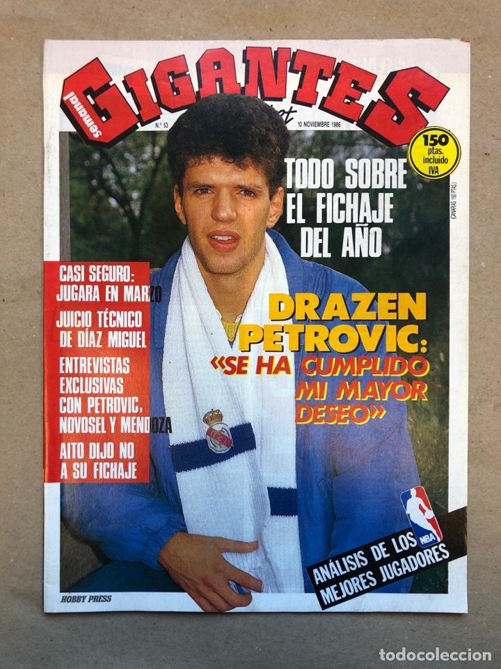 GIGANTES DEL BASKET N°53 (1986). DRAZEN PETROVIC, ANÁLISIS JUGADORES NBA, POSTER DE PETROVIC,., (Coleccionismo Deportivo - Revistas y Periódicos - otros Deportes)
