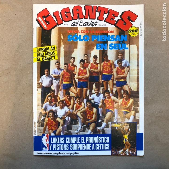 GIGANTES DEL BASKET N°136 (1988). SELECCIÓN ESPAÑOLA SEÚL '88 (POSTER), NBA, PEGATINA LARRY BIRD,.: (Coleccionismo Deportivo - Revistas y Periódicos - otros Deportes)