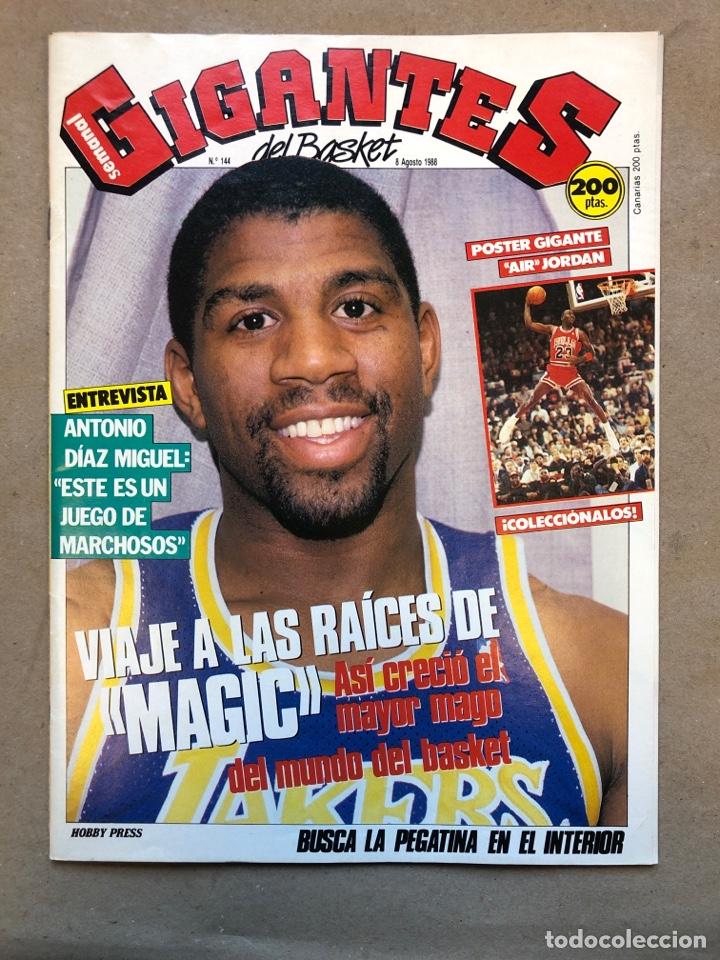 GIGANTES DEL BASKET N°145 (1988). MAGIC JOHNSON, POSTER GIGANTE MICHAEL JORDAN, PEGATINA MARCHULENIS (Coleccionismo Deportivo - Revistas y Periódicos - otros Deportes)