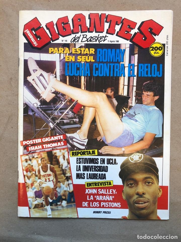GIGANTES DEL BASKET N°145 (1988). ROMAY, UCLA, JOHN SALLEY, POSTER I. THOMAS, PEGATINA A. JIMÉNEZ,.. (Coleccionismo Deportivo - Revistas y Periódicos - otros Deportes)