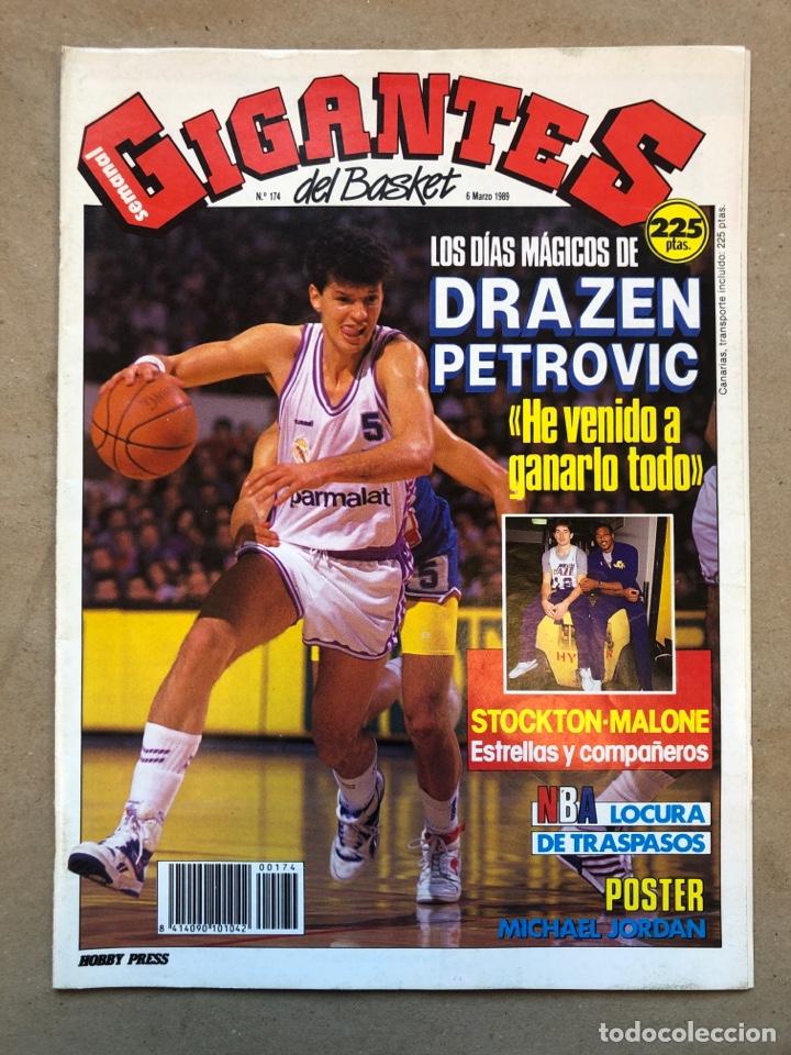 GIGANTES DEL BASKET N° 174 (1989). DRAZEN PETROVIC, STOCKTON - MALONE, POSTER MICHAEL JORDAN,., (Coleccionismo Deportivo - Revistas y Periódicos - otros Deportes)