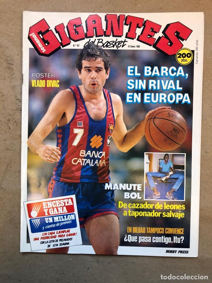 GIGANTES DEL BASKET N° 167 (1989). MANUTE BOL, CAJABILBAO ITURRIAGA, BARÇA, POSTER VLADO DIVAC,.,, (Coleccionismo Deportivo - Revistas y Periódicos - otros Deportes)
