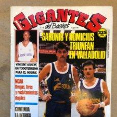 Coleccionismo deportivo: GIGANTES DEL BASKET N° 198 (1989). SABONIS Y HOMICIUS EN VALLADOLID, PETROVIC, NCAA, POSTER BIRIUKOV. Lote 149458028