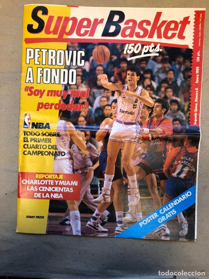 SÚPER BASKET N° 8 (1989). PETROVIC A FONDO, NBA, REPORTAJE CHARLOTTE Y MIAMI. POSTER CALENDARIO 1989 (Coleccionismo Deportivo - Revistas y Periódicos - otros Deportes)