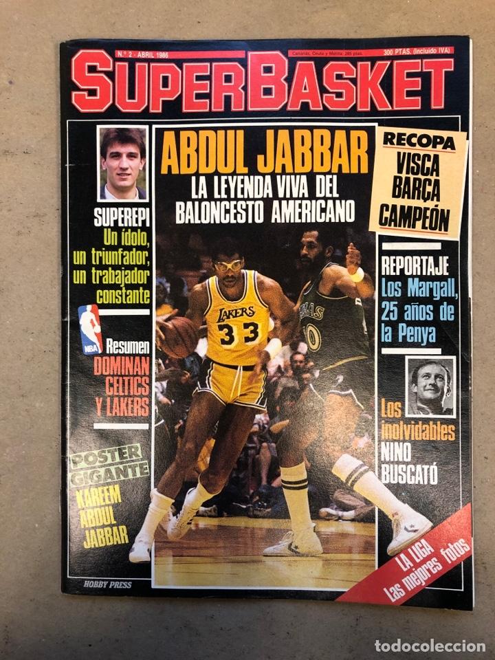 SUPERBASKET N° 2 (1986). ABDUL JABBAR, EPI, CELTICS - LAKERS, LOS MARGALL, POSTER GIGANTE KAREEM AB (Coleccionismo Deportivo - Revistas y Periódicos - otros Deportes)