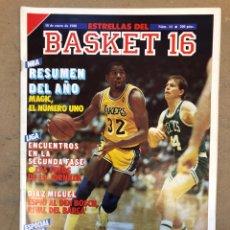 Coleccionismo deportivo: ESTRELLAS DEL BASKET N° 14 (1988). NBA RESUMEN DEL AÑO, MAGIC JOHNSON NÚMERO 1, ESPECIAL GALICIA. Lote 149485264