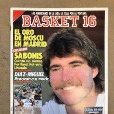Coleccionismo deportivo: BASKET 16 N° 54 (1988). EXCLUSIVA SABONIS, PETROVIC, DÍAZ MIGUEL,..... Lote 149487617
