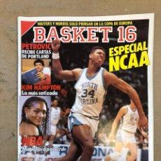 Coleccionismo deportivo: BASKET 16 N° 61 (1988). ESPECIAL NCAA, PETROVIC, MAGIC LLORA POR BIRD,.,,. Lote 149490125