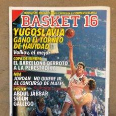 Coleccionismo deportivo: BASKET 16 N° 65 (1989). POSTER KAREEM ABDUL JABBAR SEGÚN GALLEGO, NBA JORDAN, YUGOSLAVIA,,,. Lote 149492718