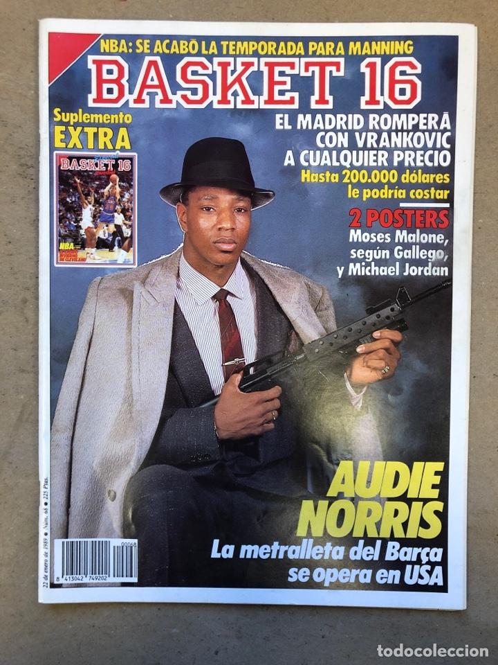 BASKET 16 N° 68 (1989). POSTERS MICHEL JORDAN Y MOSES MALONE SEGÚN GALLEGO, NORRIS,... (Coleccionismo Deportivo - Revistas y Periódicos - otros Deportes)