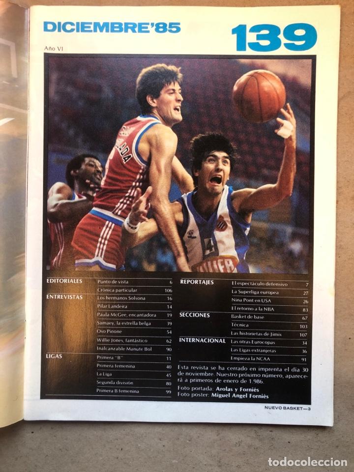 Coleccionismo deportivo: REVISTA NUEVO BASKET N° 139 (1985). OSO PINONE, MANUTE BOL, POSTER JOSÉ LUIS LLORENTE,.. - Foto 2 - 149816652