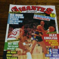 Coleccionismo deportivo: REVISTA GIGANTES DEL BASKET- PORTADA ALEX ENGLISH, DENVER NUGGETS- N°29, 1986.. Lote 153045054