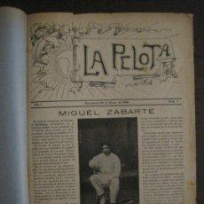Coleccionismo deportivo: LA PELOTA-PELOTARI-PELOTA VASCA-BARCELONA-REVISTAS DEL Nº1 AL 21-AÑO 1908 1909-VER FOTOS-(V-17.192). Lote 202551313