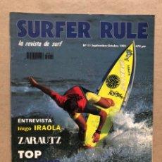 Colecionismo desportivo: SURFER RULE N° 11 (1991). IÑIGO IRAOLA, ZARAUTZ, TOP JUNIOR, SURFATLAS, TENERIFE, BODYBOARD. Lote 169423480