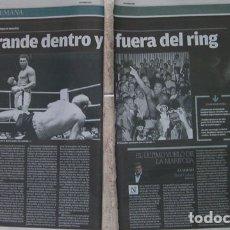Coleccionismo deportivo: 2 HOJA DE PERIODICO BOXEO MUHAMMAD ALI LUTO EN EL DEPORTE MUNDIAL. Lote 176648148