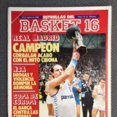 Coleccionismo deportivo: BASKET 16, NO.24, REAL MADRID. CAMPEÓN CORBALAN ACABÓ CON EL MITO CIBONA. Lote 177319304