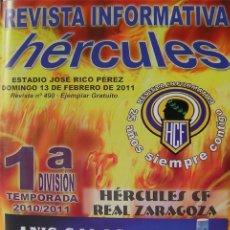 Coleccionismo deportivo: ALICANTE, HÉRCULES REVISTA INFORMATIVA HÉRCULES-ZARAGOZA- 13 FEBRERO 2011. Lote 177794703