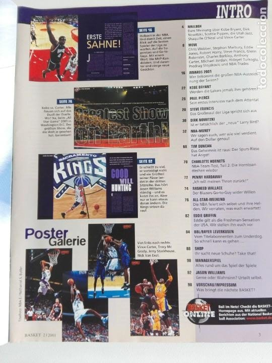 Coleccionismo deportivo: Revista alemana BASKET (FEB 2001) - KOBE VS. CARTER, ALL STAR 2001 (+ 4 SUPERPOSTERS) - Foto 2 - 184056648