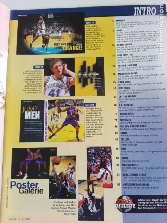 Coleccionismo deportivo: Revista alemana BASKET (MAR 2001) - NOWITZKI, JUMP MEN (+ 4 SUPERPOSTERS) - Foto 2 - 184056832