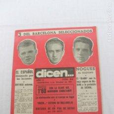Coleccionismo deportivo: REVISTA DICEN NUMERO 55, BARCELONA 5 DE OCTUBRE 1953. Lote 184067776