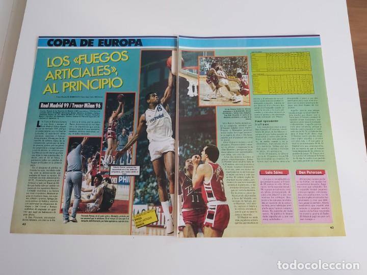 REPORTAJE 2 PAGINAS BALONCESTO PARTIDO REAL MADRID-TRACER MILAN DE COPA DE EUROPA F2 (Coleccionismo Deportivo - Revistas y Periódicos - otros Deportes)