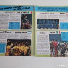 Coleccionismo deportivo: REPORTAJE 3 PAGINAS BALONCESTO DE LOS SEIS EQUIPOS FINALISTAS EN COPA DE EUROPA,RECOPA Y KORAC F2. Lote 194247877