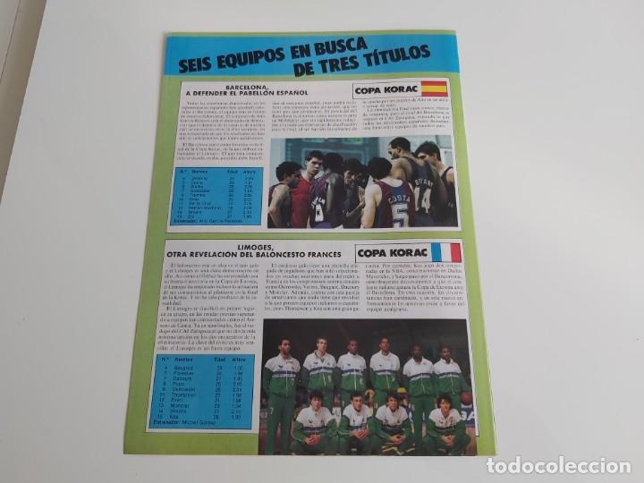 Coleccionismo deportivo: REPORTAJE 3 PAGINAS BALONCESTO DE LOS SEIS EQUIPOS FINALISTAS EN COPA DE EUROPA,RECOPA Y KORAC F2 - Foto 2 - 194247877