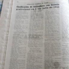 Coleccionismo deportivo: ANTIGUO DOCUMENTO DE BOXEO . CLASIFICACION DE BOXEADORES CON LICENCIA PROFESIONAL 1° DE JULIO 1944. Lote 194489166
