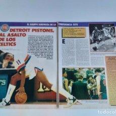 Coleccionismo deportivo: REPORTAJE 3 PAGINAS BALONCESTO NBA DETROIT PISTONS SORPRESA CONFERENCIA ESTE F4. Lote 194969995