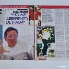 Coleccionismo deportivo: ENTREVISTA 4 PAGINAS BALONCESTO ANTONIO DIAZ MIGUEL HACE BALANCE DEL EUROPEO 87 F4. Lote 195032446